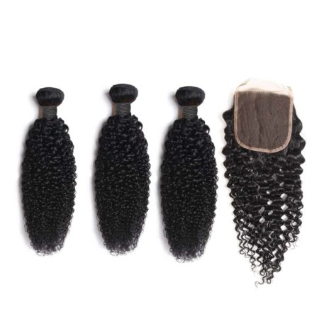 indian kinky curly hair 3 bundles with closure