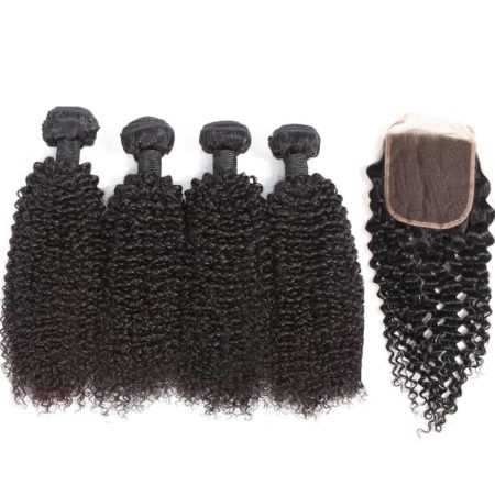 indian kinky curly hair 4 bundles with closure