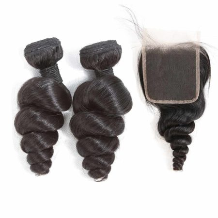 indian loose wave hair 2 bundles with closure