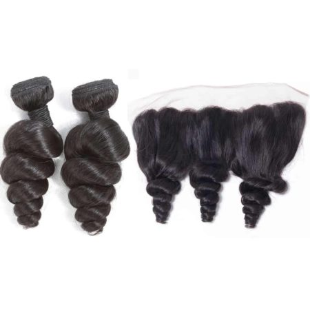 indian loose wave hair 2 bundles with frontal