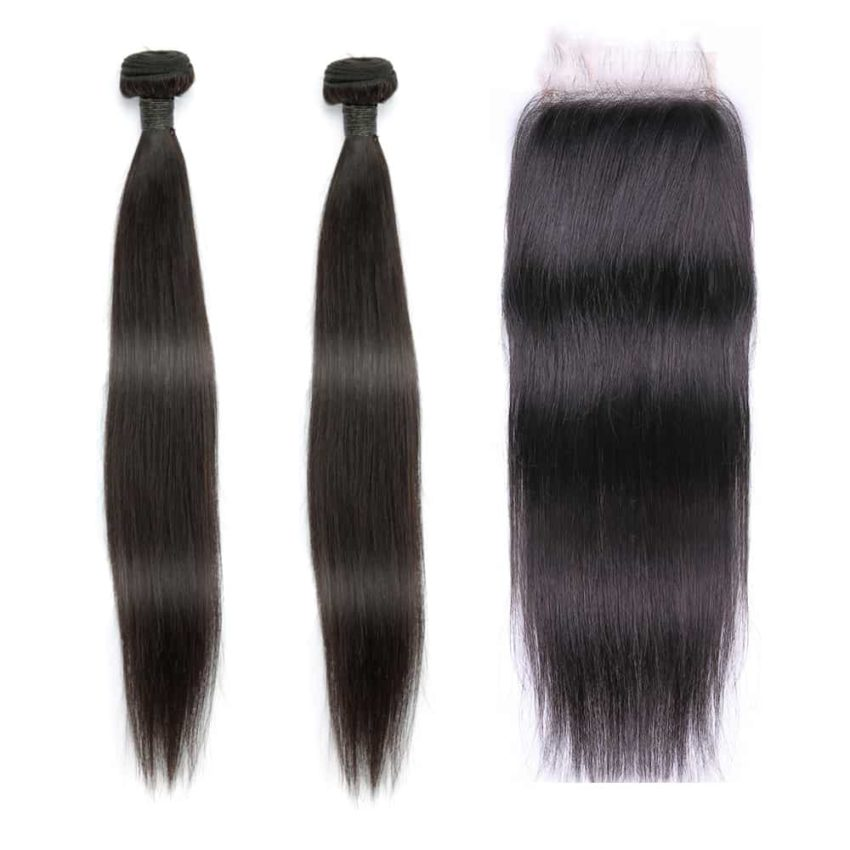 indian straight hair 2 bundles with closure