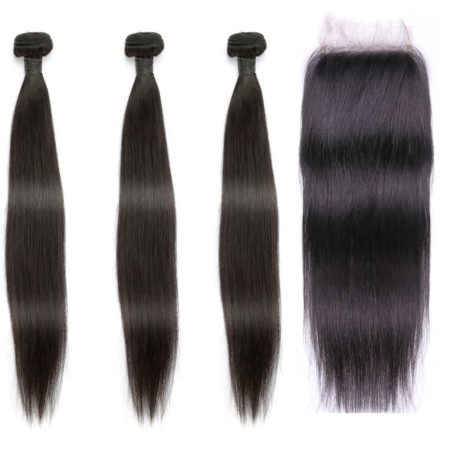 indian straight hair 3 bundles with closure