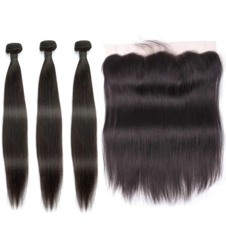indian straight hair 3 bundles with frontal