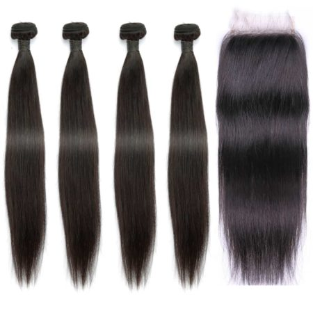 indian straight hair 4 bundles with closure