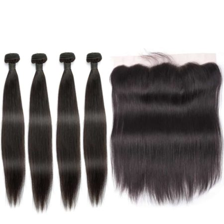 indian straight hair 4 bundles with frontal