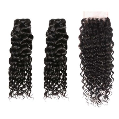 indian water wave hair 2 bundles with closure