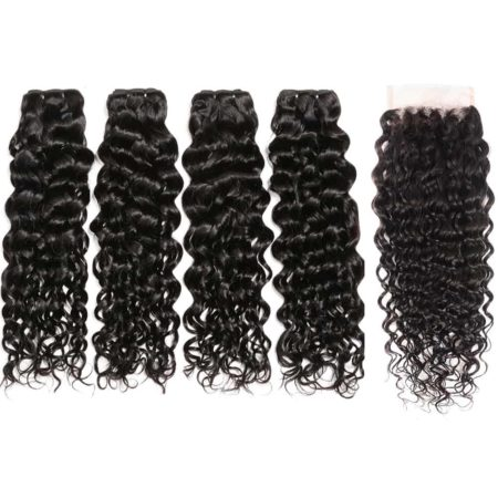indian water wave hair 4 bundles with closure