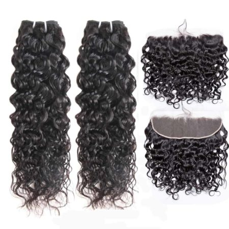 indian wet and wavy hair 2 bundles with frontal