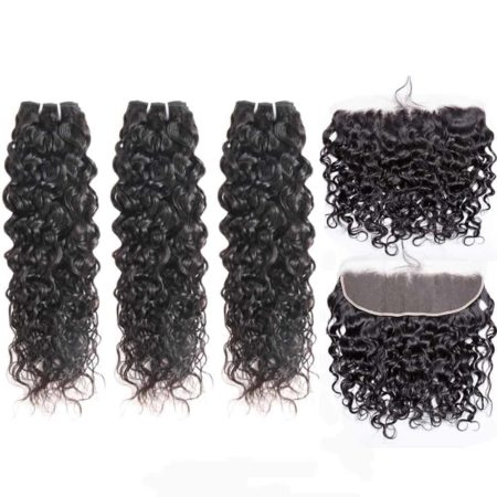 indian wet and wavy hair 3 bundles with frontal