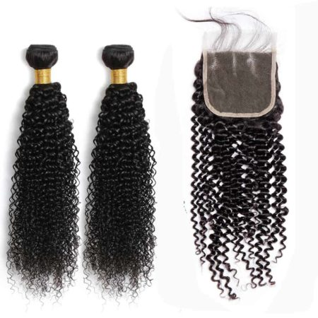 kinky curly bazilian hair 2 bundles with closure