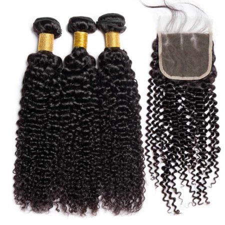 kinky curly bazilian hair 3 bundles with closure
