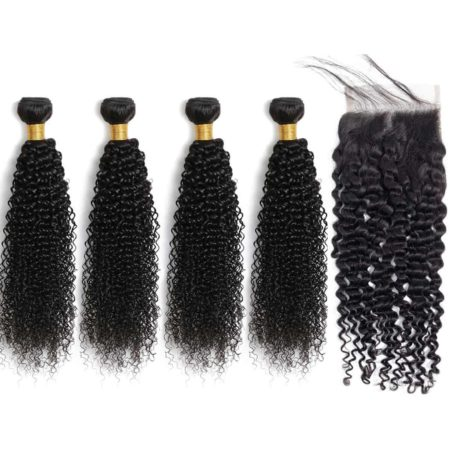 kinky curly bazilian hair 4 bundles with closure