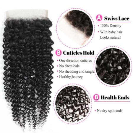 kinky curly hair 4x4 mongolian closure des1