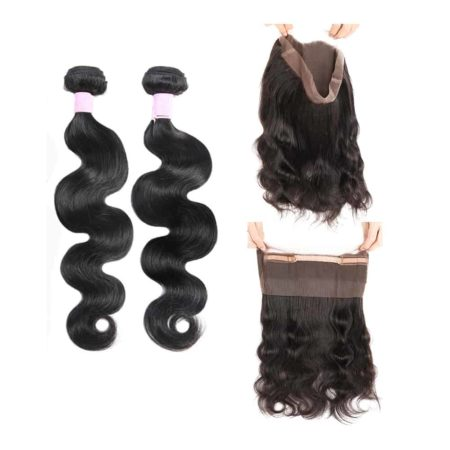 malaysian body wave 2 bundles with 360 frontal