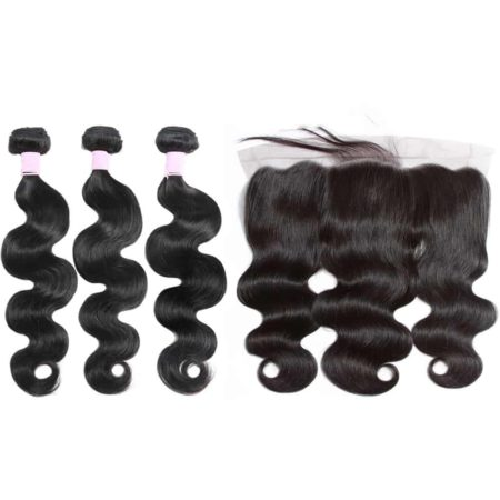 malaysian body wave 3 bundles with frontal