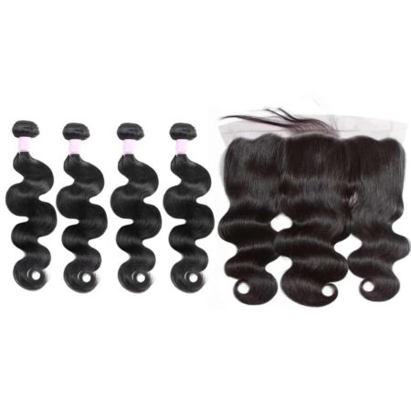 malaysian body wave 4 bundles with frontal
