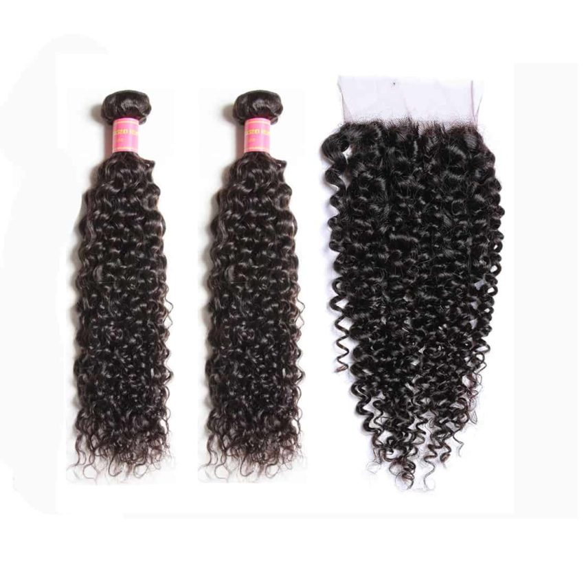 malaysian curly weave hair 2 bundles with closure
