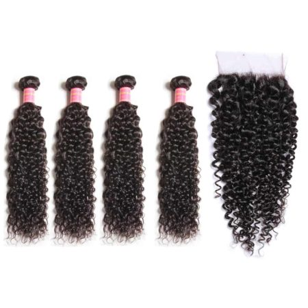 malaysian curly weave hair 4 bundles with closure
