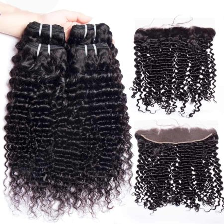 malaysian deep wave hair 2 bundles with frontal
