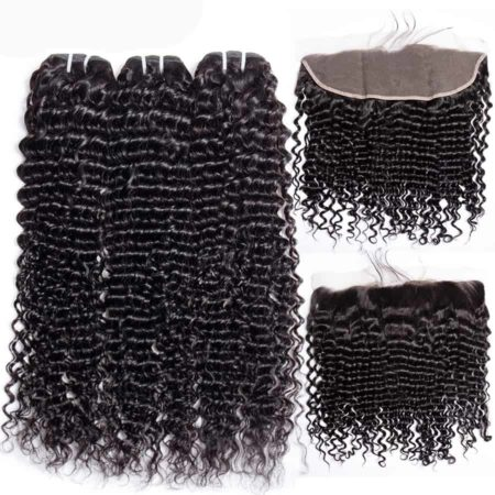 malaysian deep wave hair 3 bundles with frontal