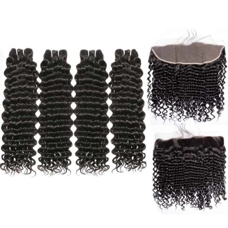 malaysian deep wave hair 4 bundles with frontal