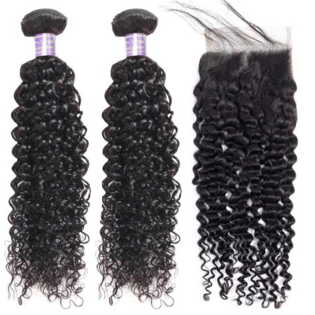 malaysian hair kinky curly 2 bundles with closure