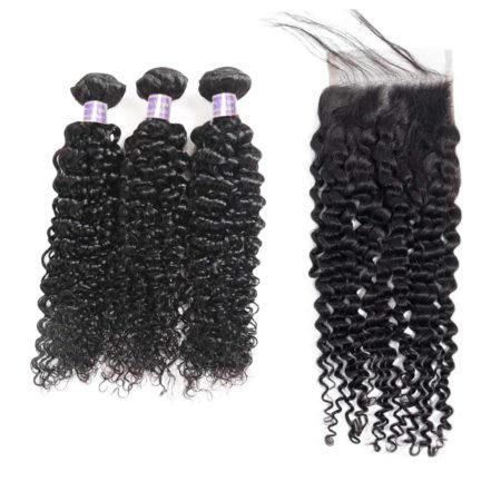 malaysian hair kinky curly 3 bundles with closure