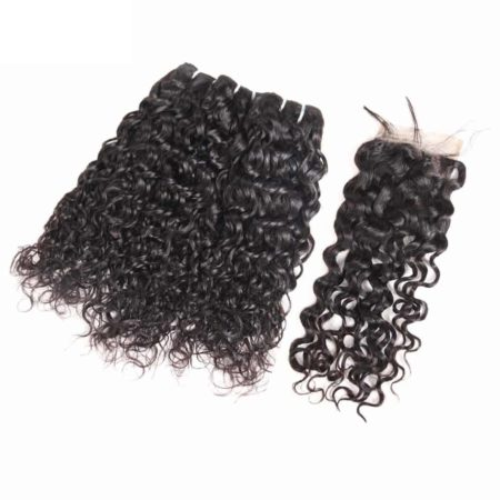 malaysian hair water wave bundles with closure5 1