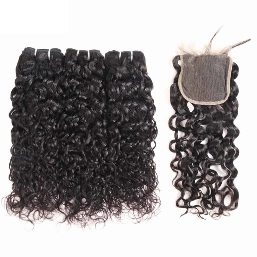 malaysian hair water wave bundles with closure6 1