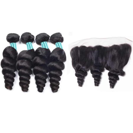 malaysian loose wave hair 4 bundles with fronta