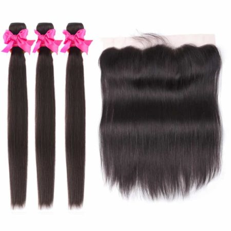 malaysian straight hair 3 bundles with frontal