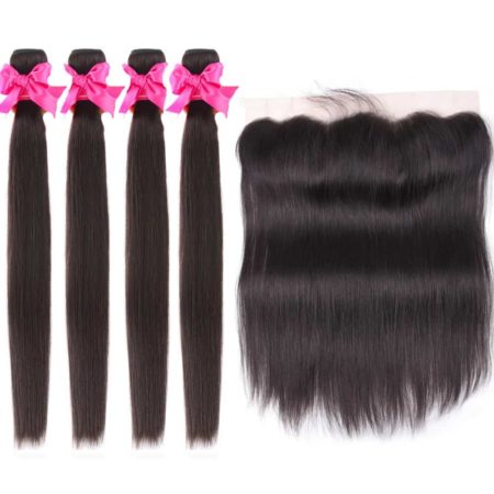 malaysian straight hair 4 bundles with frontal