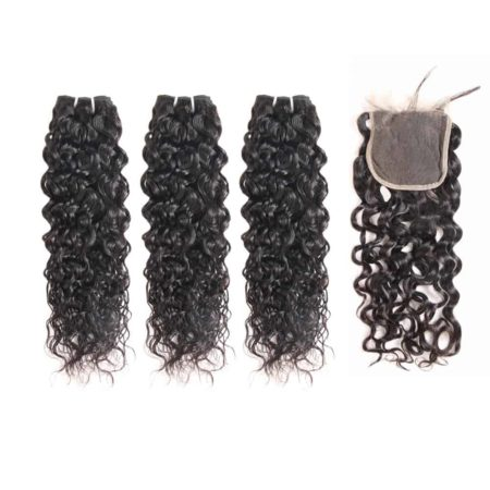 malaysian water wave hair 3 bundles with closure