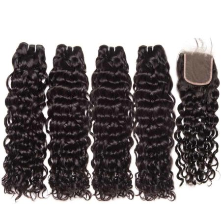 malaysian water wave hair 4 bundles with closure