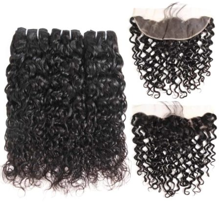 malaysian wet and wavy hair 3 bundles with frontal2