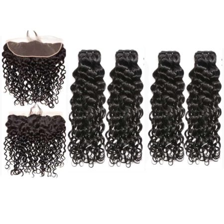 malaysian wet and wavy hair 4 bundles with frontal