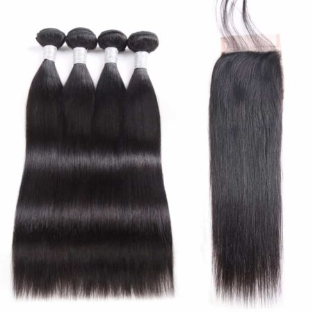 peruvian 4 bundles straight hair with closure