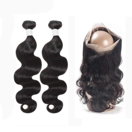 peruvian body wave 2 bundles with 360 frontal