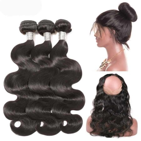 peruvian body wave 3 bundles with 360 frontal
