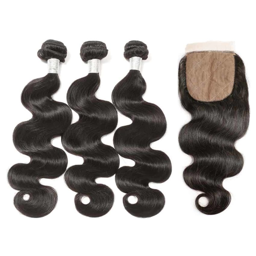 peruvian body wave 3 bundles with silk base closure