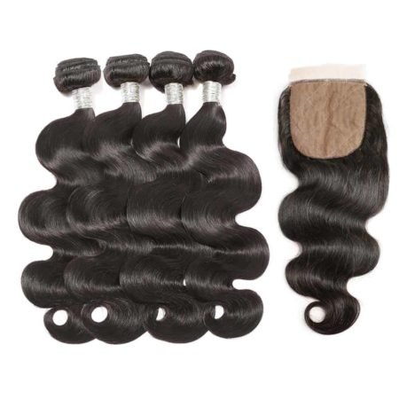 peruvian body wave 4 bundles with silk base closure