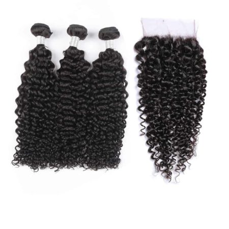 peruvian curly weave 3 bundles hair with closure