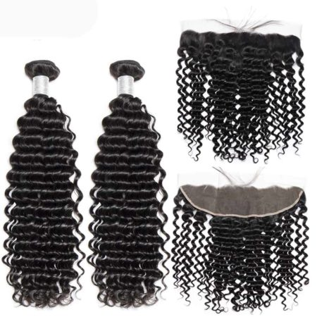 peruvian deep wave hair 2 bundles with frontal