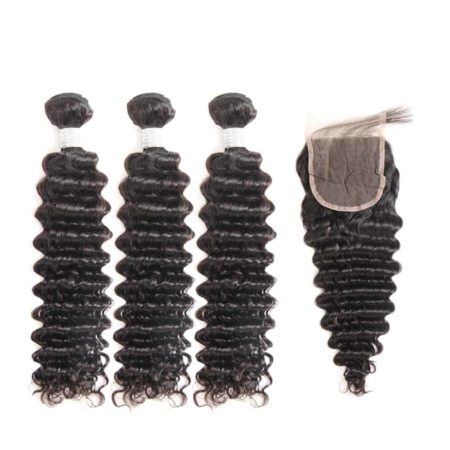 peruvian deep wave hair 3 bundles with closure