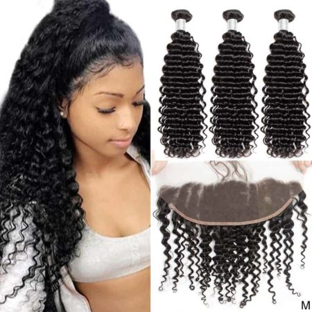 peruvian deep wave hair 3 bundles with frontal