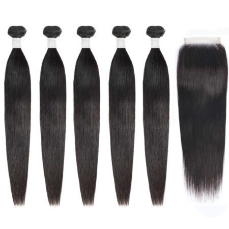 peruvian hair Straight 5 bundles with closure1
