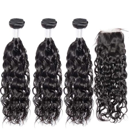 peruvian hair water wave 3 bundles with closure