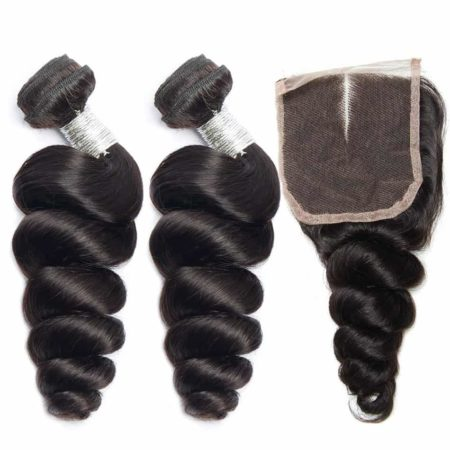 peruvian loose wave hair 2 bundles with closure