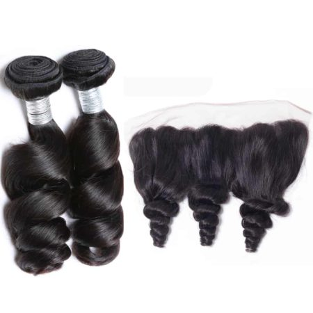 peruvian loose wave hair 2 bundles with frontal