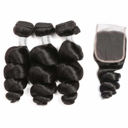 peruvian loose wave hair 3 bundles with closure